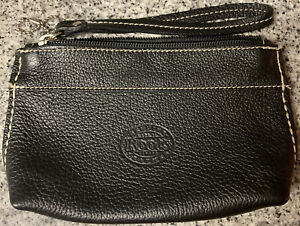 ROOTS CANADA BROWN PEBBLED LEATHER ZIPPER POUCH WRISTLET
