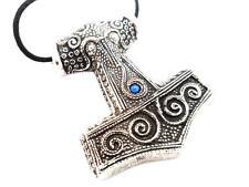 Viking Skane Thor's Hammer Replica in Pewter, Blue Jewel, Celtic Norse