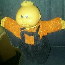 VINTAGE CABBAGE PATCH KIDS DOLL blonde hair blue overall 1982 cpk xavier roberts