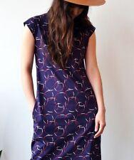 A.P.C. Robe Rolla Bordeaux Mock Neck cotton Tunic dress sz Small NWT