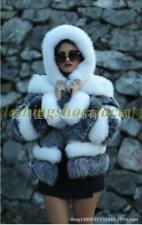 Chic Cálido Abrigo Real Visón Piel Para Mujer De Invierno Corta de abrigo parques de piel de visón Talla