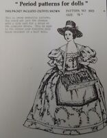 "1883-1887 dress pattern for antique French or German 7 1/2"" doll"