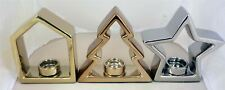 Set of 3 Christmas Tree Star Tealight Candle Holders - Silver & Gold