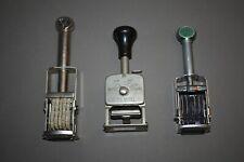 Lot Of 3 Vtg Number Marker Price Stamper For Partsrepair Roberts Ertan Garvey
