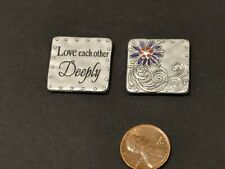 "Ganz ""Love Each Other Deeply"" Scripture Token/Pocket Charm Purple Flower"