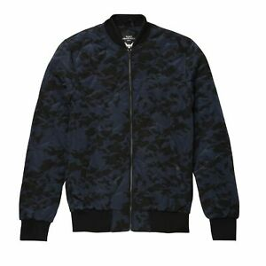 Brave Soul Quilted Camo Bomber Jacket Blue