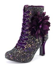 Joe Browns NEW Rebel purple glitter lace up high heel ankle boots sizes 3-8