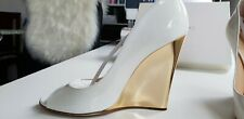 Jimmy Choo 37,5 High Heels Peeptoes Schuhe Pumps Weiß Lack