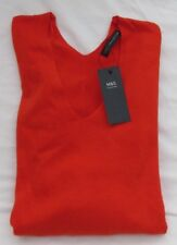Ladies Marks and Spencer Dark Orange V Neck Jumper With Tie Front Size 16