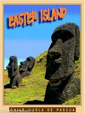 Easter Island Heads Chile Isla de Pascua Island Travel Art Poster Advertisement