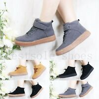 WOMENS LADIES PLATFORM HIGHTOP WEDGE CHUNKY FLATS LACE UP TRAINERS CREEPERS SIZE