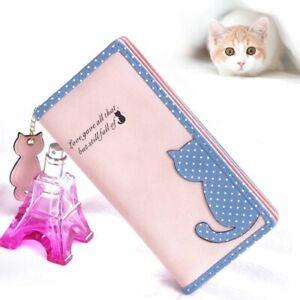 Wallets Lady Handbag Fashion Long Cat Anime Girls Women Leather Wallets Gift