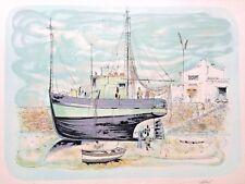 Lithographie ancienne signé numéroté Bateaux Carénage Marine Bretagne
