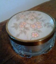 Art Deco Vanity Powder Box Glass with Copper Edge Cherry Blossom Floral Pattern