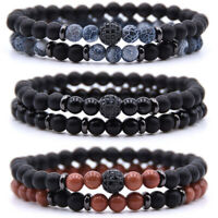 2PCS Men Women Natural Stone Crystal Bracelet Elastic Yoga Balance Beads Bangle