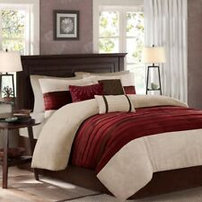 King Size Bedding Comforter Set Modern Victorian Chic Red Burgundy 7 Piece Cozy