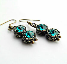 Swarovski Brass Costume Earrings
