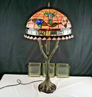 Table Lamp Resin Tree Shaped Stained Glass Shade W/Bird Home Lighting