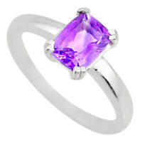 2.11ct Natural Faceted Amethyst 925 Sterling Silver Solitaire Ring Size 9 R71125