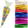 50 Clear Cello Cones w/ Coloured Metallic Twist Ties for Party Gift Bags Sweets