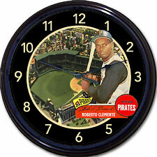 Roberto Clemente Pittsburgh Pirates Baseball Card Wall Clock Forbes Field MLB