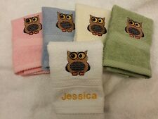 A Personalised Owl Face Cloth Name Christmas Gift Flannel Embroidered!