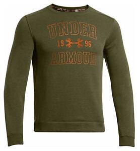 UNDER ARMOUR Mens Establi 1996 Green Orange Fleece Hunting Sweatshirt Sweater XL