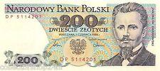 Polen 200 Zlotych 1988 Unc pick 144c