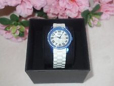 Raynell watch metallic blue and white rubber new