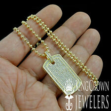 NEW YELLOW GOLD FINISH LAB DIAMOND MINI DOG TAG CHARM PENDANT CHAIN NECKLACE SET