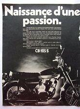 page de publicite -  MOTO  HONDA CB 125 S   en 1971  ref. 50000
