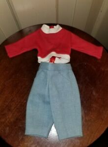"""VINTAGE 1950s MADAME ALEXANDER OUTFIT tagged red sweater CARDIGAN JEANS 15"""" DOLL"""