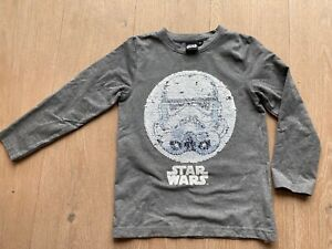Star Wars Langarmshirt  mit Wendepailletten Sturmtruppler + Darth Vader Gr. 122