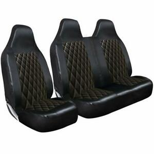 RENAULT TRAFIC (2014-2020) -LUXURY QUILTED DIAMOND LEATHER VAN SEAT COVERS - 2+1