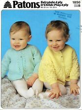 """Patons 1850 Vintage Baby Girls  Knitting Pattern Cardigans 18-20"""" 4 ply repro"""