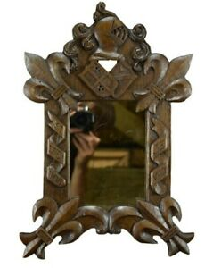 Antique French Carved Wood Fleur-De-Lis Wall Mirror Helmet Coat of Arms
