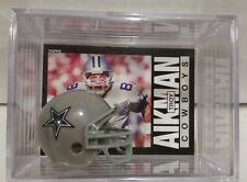 Troy Aikman Dallas Cowboys Mini Helmet Card Display Case Collectible QB HOF Auto