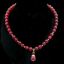 Edle Rubin Halskette Kette Collier necklace mit Anhaenger neu X048