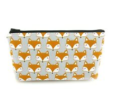 Blushing Fox Cosmetic Bag, Kids Teen Zip Pouch, Makeup Bag, Pencil Case