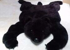 "Jumbo 50"" 127cm Black Bear Plush Rug Big Head Faux Leather nails stuffed animal"