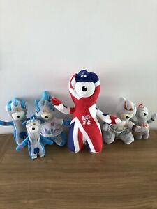 London Olympics 2012 Collection Of Wenlock And Mandeville Soft Toys And Keyrings