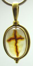 w/ Cross in Stone Sajen Rare 18kt Gold Pendant