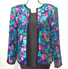 Sequined Large Geometric Blazer Silk Evening Long Sleeve Jacket Vtg Stenay Teal