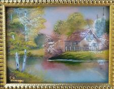 French Limoges Art Enamel on Copper Frame – Country Farmhouse by P Rathonie