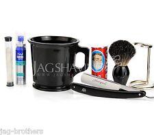 STRAIGHT CUT RAZOR HOLDER  BRUSH SHAVING MUG+ARKO SOAP ALUM STICK&SHAVING OIL