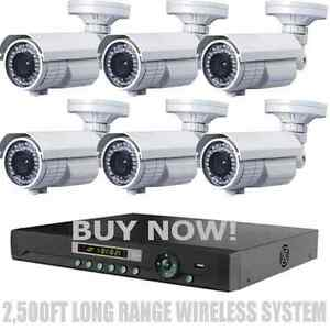 LONG RANGE WIRELESS 2,500Ft Night Vision 1200TVL Waterproof Security Cameras