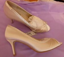 Debenham Debut UK6 EU39 US8 new ivory satin peep top diamante trim bridal shoes