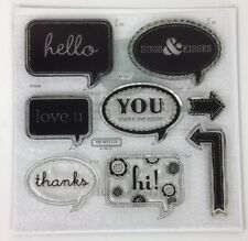 Close To My Heart D1531 Cricut Artiste Word Balloons Phrases Clear Stamp Set NEW
