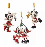 NEW! Disney Parks Santa Mickey and Minnie Mouse 3 Piece Boxed Tree Ornament Set