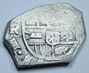 1622-65 Spanish Sevilla R Silver 1 Reales Antique 1600s Colonial Pirate Cob Coin